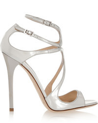 Jimmy Choo Lance 115 Metallic Leather Sandals Silver