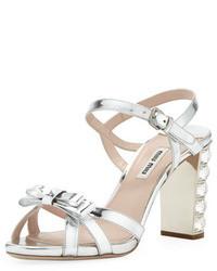 Miu Miu Metallic Crystal Heel Bow Sandal