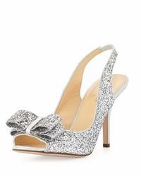 Kate Spade New York Charm Glittered Bow Slingback Silver