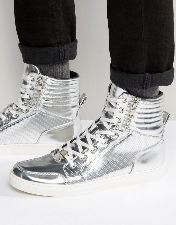 Asos High Top Sneakers In Silver