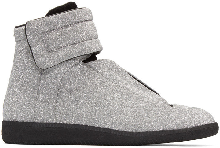 ... Maison Margiela Silver Glitter Future High Top Sneakers ...