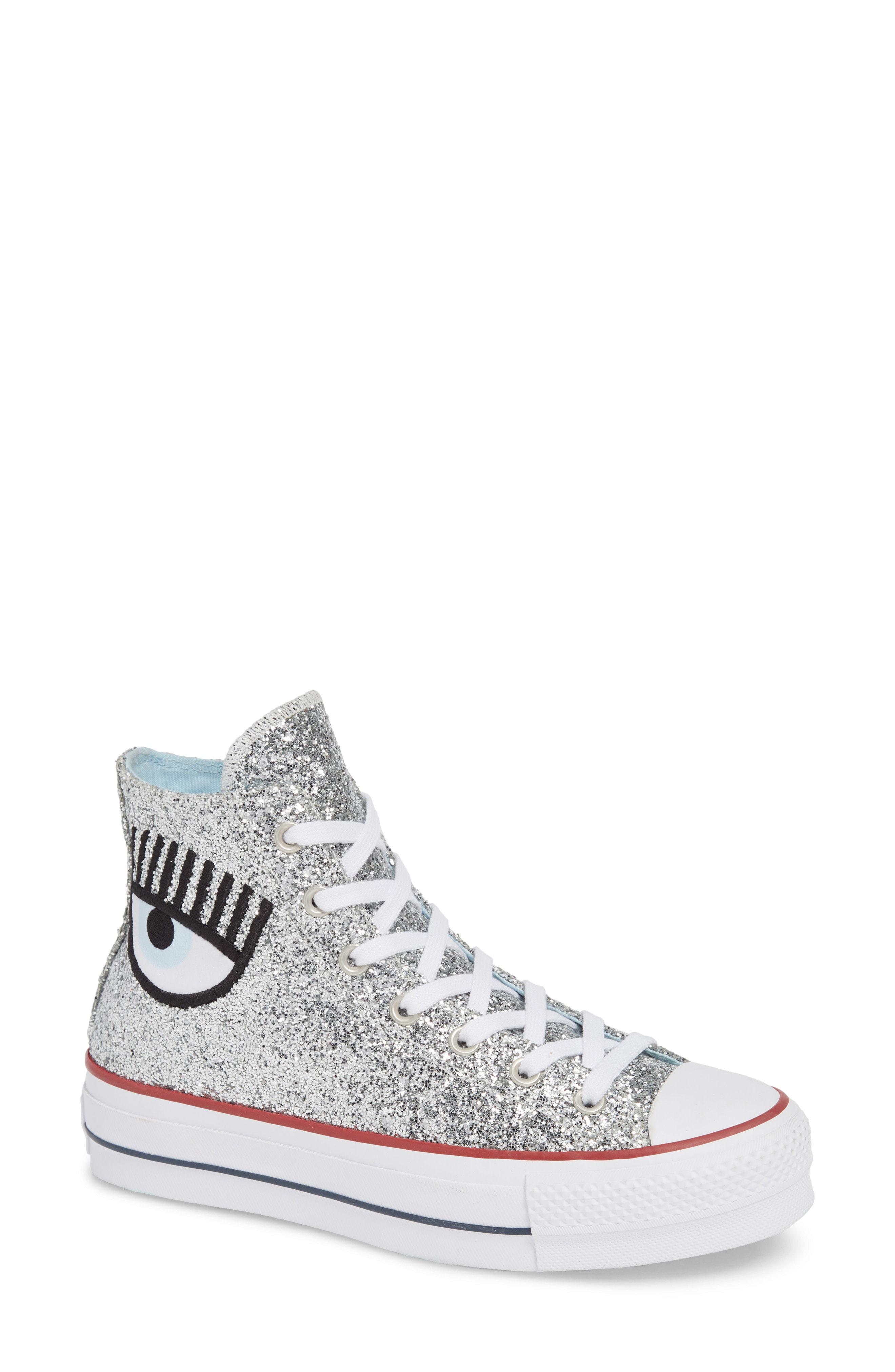 fdaa814e89cd ... Silver High Top Sneakers Converse X Chiara Ferragni 70 Hi One Star  Glitter Platform Sneaker