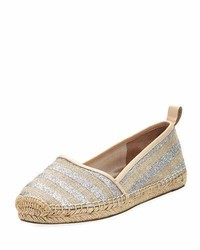 Kate Spade New York Lilliad Slip On Striped Espadrille Flat Silver