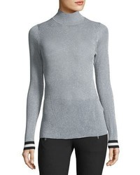 Rag & Bone Priya Turtleneck Metallic Sweater W Striped Cuffs