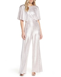 Eliza J Cape Sleeve Foiled Jumpsuit