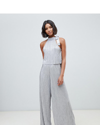 ASOS DESIGN Halter Crop Top Metallic Plisse Jumpsuit