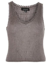 Topshop Metal Yarn Ribbed Knitted Top