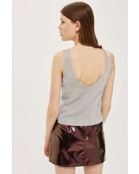 Topshop Metallic Yarn V Back Knitted Crop Top