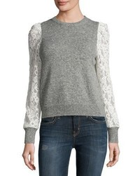 Rebecca Taylor Lace Sleeve Pullover Heather Gray