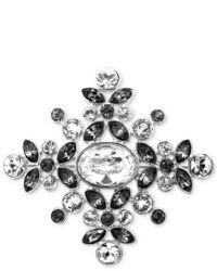 Givenchy Brooch Silver Tone Swarovski Black Diamond Crystal Snowflake Pin
