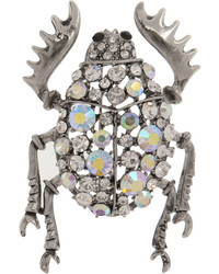 Kenneth Jay Lane Silver Tone Crystal Beetle Brooch