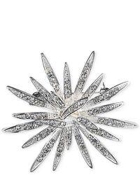 Anne Klein Silver Tone Crystal Burst Pin