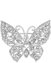 Charter Club Silver Tone Crystal Butterfly Pin