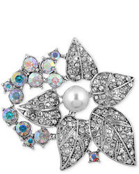 Jones New York Silver Tone Crystal Flower And Imitation Pearl Pin
