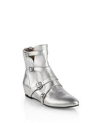 Elizabeth and James Cosmo Metallic Leather Wedge Ankle Boots Silver