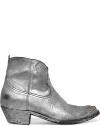 Golden Goose Deluxe Brand Young Metallic Distressed Leather Ankle Boots Silver