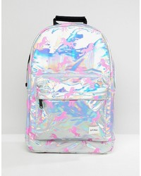 Spiral Holographic Backpack With Pink Unicorn Print