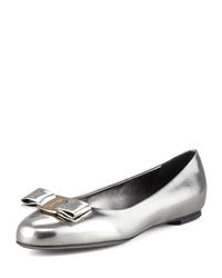 Silver Leather Ballerina Shoes