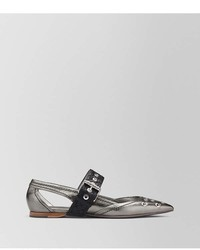Bottega Veneta Antique Silver Calf Mary Jane Ballerina