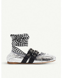 Miu Miu Buckled Metallic Leather Ballerina Flats