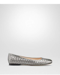 Bottega Veneta Light Silver Intrecciato Nappa Lam Peggy Ballerina