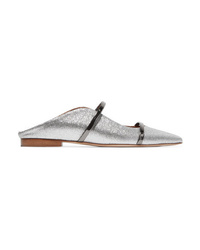 Malone Souliers Maureen Med Glittered Leather Point Toe Flats