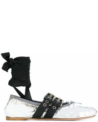 Miu Miu Metallic Buckled Ballerinas