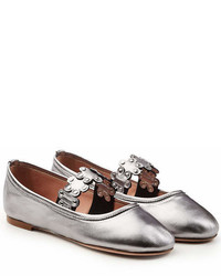 RED Valentino Metallic Leather Ballerinas With Stud Embellisht