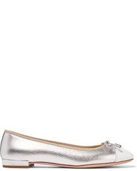 Prada Metallic Textured And Patent Leather Ballet Flats Silver