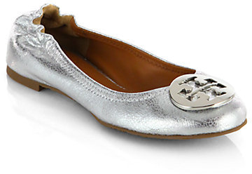 7bd7b126a2c ... Tory Burch Reva Crackled Metallic Leather Ballet Flats ...