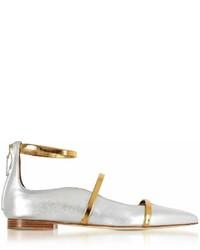 Malone Souliers Robyn Silvergold Metallic Nappa Leather Flat Ballerinas