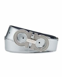 Salvatore Ferragamo Reversible Metallic Leather Gancini Buckle Belt Silver