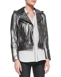 Belstaff Metallic Leather Moto Jacket