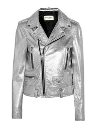 Saint Laurent Perfecto Metallic Textured Leather Biker Jacket Silver