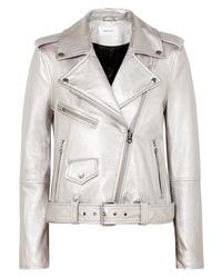 Current/Elliott The Shaina Metallic Textured Leather Biker Jacket
