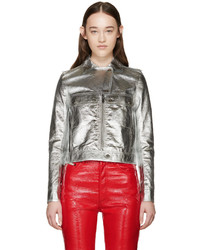 Courrges silver metallic leather jacket medium 455181