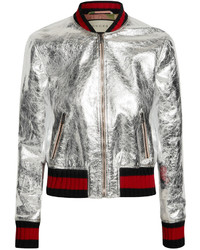 Metallic leather bomber jacket silver medium 455173