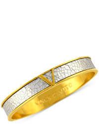 Vince Camuto Bracelet Gold Tone Shattered Metallic Leather Signature V Bangle
