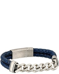Steve Madden Stainless Steel Curb Chain W Blue Braided Leather Bracelet Bracelet