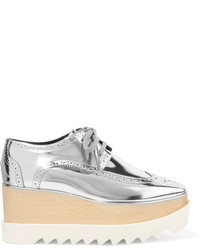 Stella McCartney Elyse Metallic Faux Leather Platform Brogues Silver