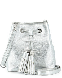 Silver Leather Bucket Bag