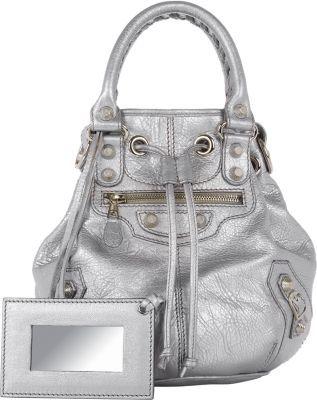 Arena Giant 12 Mini Pompon Bucket Bag Silver