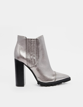 Silver leather chelsea boots asos easy money pointed chelsea ankle