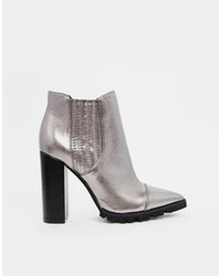 Asos Easy Money Pointed Chelsea Ankle Boots Pewter