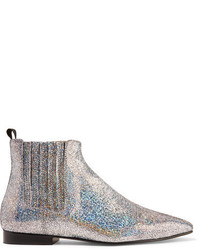 Glittered leather chelsea boots silver medium 1251347