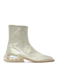 Maison Margiela Silver Holographic Airbag Tabi Boots