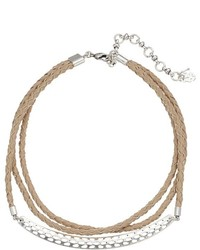 Lucky Brand Leather Choker With Hardware Necklace Necklace