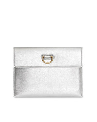 Burberry D Ring Metallic Leather Pouch With Zip Coin Case
