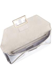 28b8eeb341a ... Tory Burch Gigi Metallic Clutch Bag Silver ...