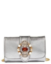Miu Miu Jewel Flap Goatskin Leather Clutch Metallic